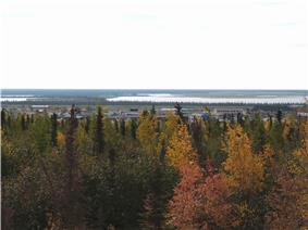 Overlooking Inuvik with the fall colours in the foreground