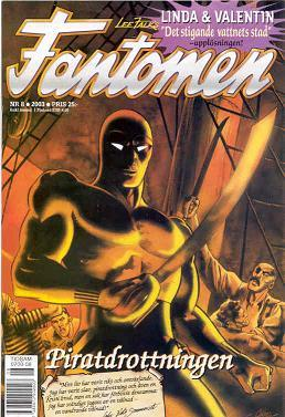 Comic-book cover, with the Phantom holding a sword