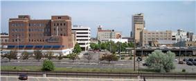 The skyline of downtown Fargo as seen from Main Avenue, facing north.