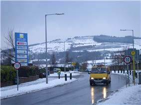 Ballycullen Road near Tallaght, Ireland on 3 February 2009. Firhouse during the February 2009 snowfall showing Montpellier Hill and the Hell Fire Club.