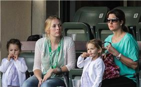 Federer's family watching him in Indian Wells, 2012