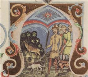 Four men, one of the leading three dogs, in pursuit of a deer