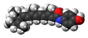 Space-filling model of the Fenretinide molecule