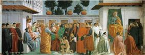 XV=Raising of the Son of Theophilus and St Peter Enthroned, Masaccio