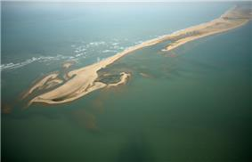 Dhanushkodi island among blue waters of Bay of Bengal.