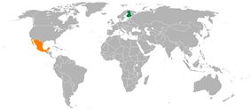 Map indicating locations of Finland and Mexico