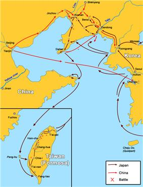 Map of the First Chinese-Japanese war.