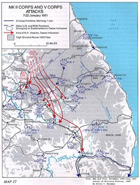 A map with multiple red arrows running southward