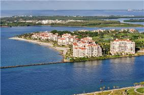 View of Fisher Island; South Pointe and Government Cut foreground, Virginia Key background