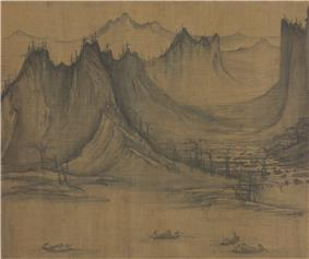 A square painting of several small, two person fishing vessels in a river, with mountains in the background.
