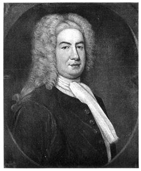 A half length black and white engraved portrait of William Burnet.