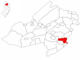 Map highlighting Florham Park's location within Morris County. Inset: Morris County's location within New Jersey