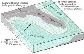 Cross section illustration of the Florida Peninsula showing the current shape of the state as is known today, and the platform created by lower ocean levels 20,000 years ago, extending the west coast 300 miles (480km) to the west, and portions of the east coast 50 to 100 miles (80 to 161km) east of what it currently is