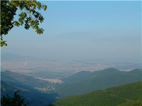 Florina city- in the background is the electricity power plant of Meliti.