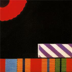 close up of the breast a dark jacket, with one quarter of a remembrance poppy on the top left corner, and a selection of British military service medal ribbons along the bottom edge