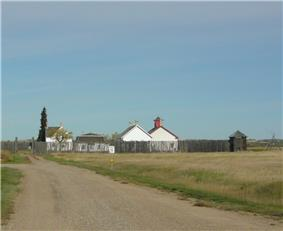 Fort Battleford as seen from a distance