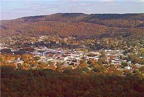 Aerial view of Fort Payne(Lookout Mountain in background)