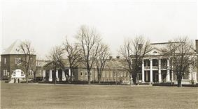 The main buildings behind the parade ground of Fort Slocum, taken around 1930