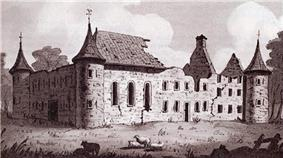 A drawing of the ruins of Fort Longueuil in 1825