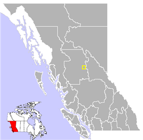 Location of Fort St. James in British Columbia