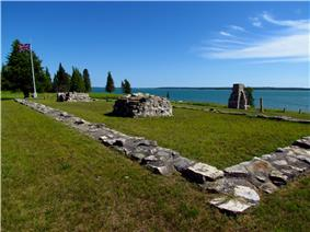 View of the remains of the foundation of the blockhouse at Fort St. Joseph