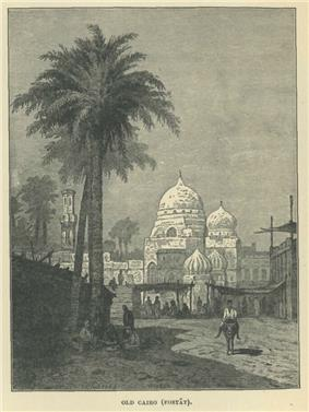 A man on a donkey walks past a palm tree, with a mosque and market behind him.