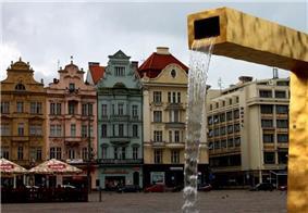 Fountain in the Main Square of Plzeň
