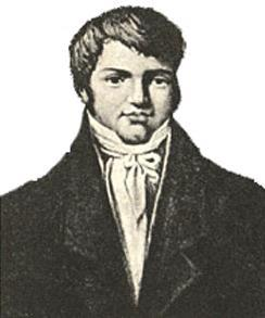 Black and white print of a young man with dimpled chin. His hair is parted on the viewer's left. He wears a dark coat open to show a frilled white shirt.