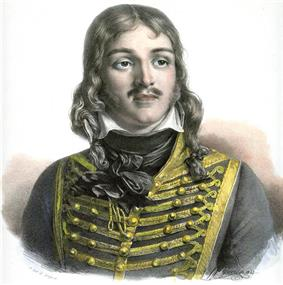 Color-tint print of a man with a moustache and hair reaching to his shoulders. He wears a dark hussar uniform of the 1790s.