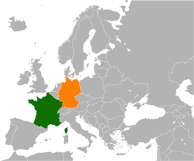 Map indicating locations of France and Germany