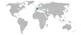 Map indicating locations of France and Japan