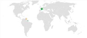 Map indicating locations of France and Trinidad and Tobago