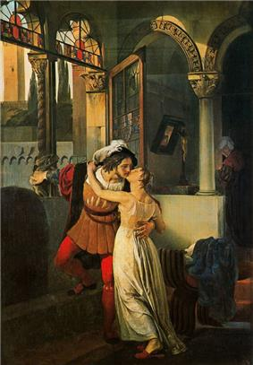 A man and woman kissing, dressed in 16th-century clothes, in a large room with rounded arches and large windows.