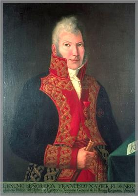 Painting of a gray-haired man in a blue military uniform with red lapels trimmed with gold lace. He looks straight at the viewer and clutches a rolled-up document in his right hand.