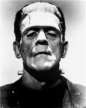 Boris Karloff dressed as Frankenstein