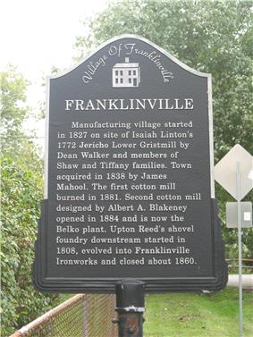 Plaque commemorating the Village of Franklinville.
