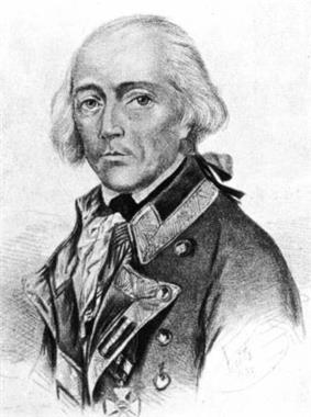 Black and white print of a balding man with white hair in a late 18th Century military coat.