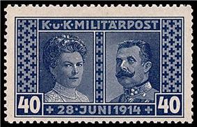 The bluish-tinted stamp shows Sophia, duchess of Hohenberg on the left, and Franz Ferdinand on the right. The stamp is titled