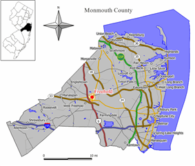 Map of Freehold Borough in Monmouth County. Inset: Location of Monmouth County highlighted in the State of New Jersey.