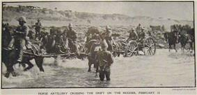 French's cavalry at Klip Drift on the Modder River, showing men, horses and guns crossing the river.