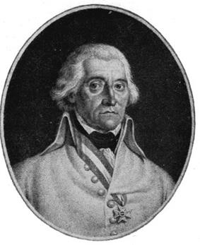 Miniature portrait of von Hotze. He has white hair and dark eyebrows, a large nose and prominent chin. He wears a cross of honour on a ribbon of the Austrian colours around his neck and passed through a buttonhole of his civilian jacket.