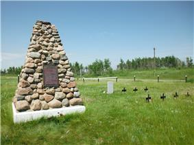 Frog Lake National Historic Site cairn and plaque