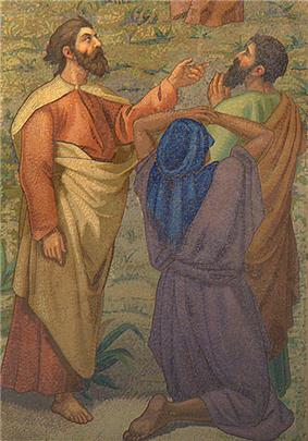 Three men approach Jesus. One of them is pointing, and another kneeling.