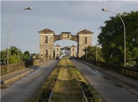 The border between Brazil and Uruguay at Jaguarão