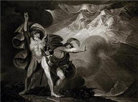 A nearly naked man with finely defined muscles stands strongly with his right arm upraised. In the background are three amorphous figures swirling around with hoods over their heads. There is a second man standing between the first and the figures, pushing the figures away.