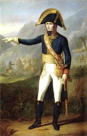 Painting of a standing man in a dark blue military uniform with white breeches and black boots. The stern-looking man, who wears a large black bicorne hat with gold edging, points to the observer's left.