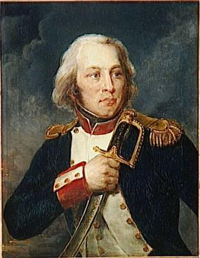 Painting of a hatless man holding his sword hilt against his left shoulder. He wears a dark blue military uniform of the Napoleonic era with white lapels, red collar and cuffs and gold epaulettes.