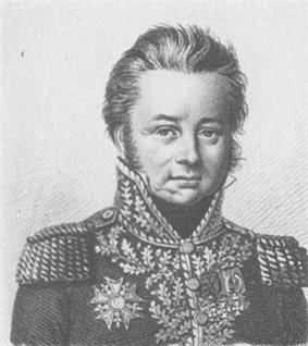 Portrait of clean-shaven, wavy-haired Morand in military uniform with a scar on his chin