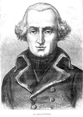 Black and white print of a man in a dark 1790s era military coat. His light-colored hair is curled up at the ears.