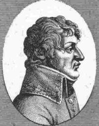 Black and white print of a man with full, wavy hair in profile. He wears a late 1700s military coat with embroidery on the collar and lapels.